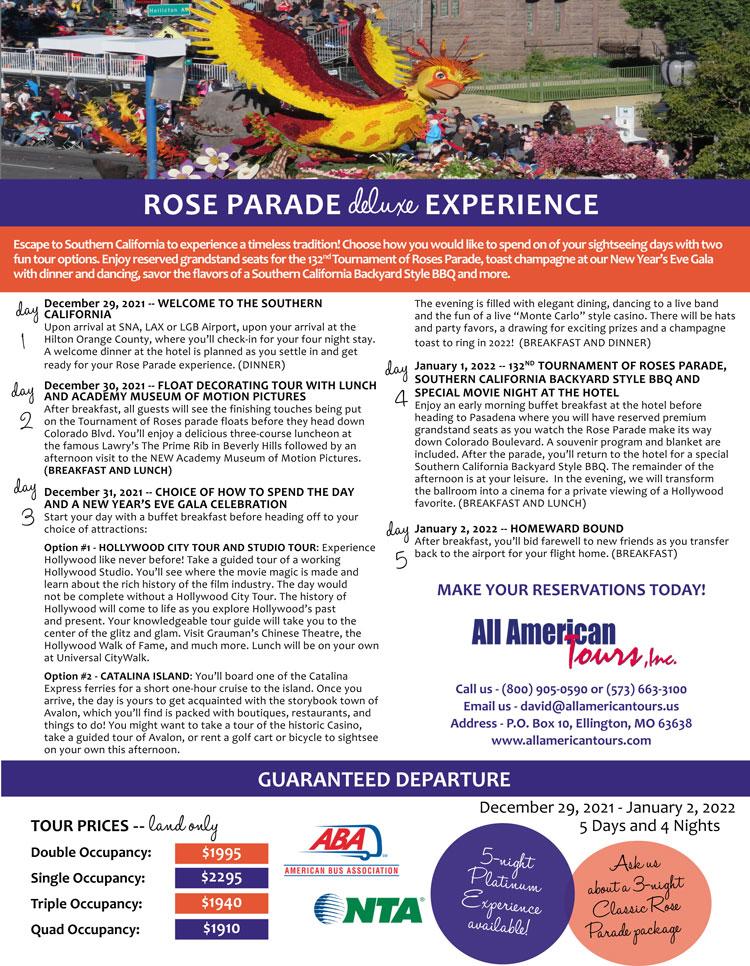 Rose Parade Experience 2021 2022